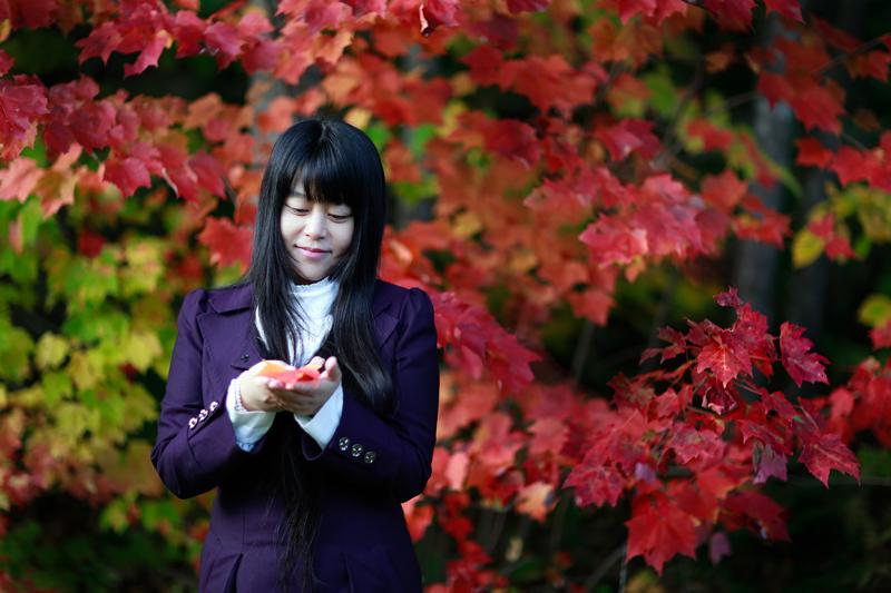 真如老師照片:十月,送你一片紅葉