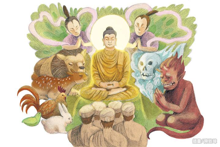 世間諸人,三界諸天,以及諸龍、諸鬼、諸神和八部之眾,聽聞佛法後,無不歡喜,向佛行最深的禮敬。